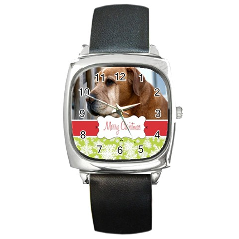 Xmas By Wood Johnson   Square Metal Watch   Blknecawgs6i   Www Artscow Com Front