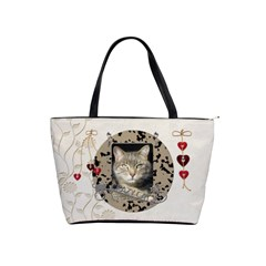Crazy Cat Classic Shoulder Handbag By Lil    Classic Shoulder Handbag   78er3byklkxw   Www Artscow Com Front