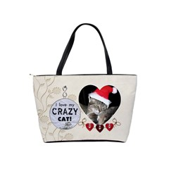 Crazy Cat Classic Shoulder Handbag By Lil    Classic Shoulder Handbag   78er3byklkxw   Www Artscow Com Back
