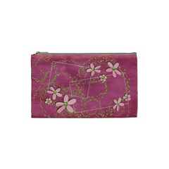 Tiny Pink Flowers cosmetic bag by Mikki Front