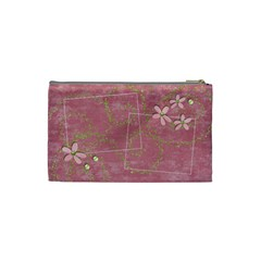 Tiny Pink Flowers cosmetic bag by Mikki Back