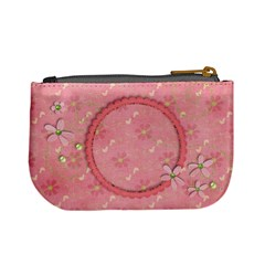 Pink & Green Flowers   Mini Coin Purse By Mikki   Mini Coin Purse   82ozbfpl0kb0   Www Artscow Com Back
