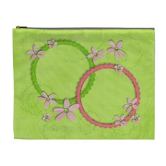 Pink & Green Flowers Cosmetic Bag Xl By Mikki   Cosmetic Bag (xl)   7kq01grrx6a1   Www Artscow Com Front