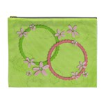 Pink & Green flowers-Cosmetic Bag XL - Cosmetic Bag (XL)