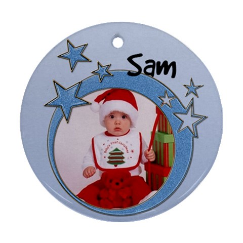 Sam   Ornament By Carmensita   Ornament (round)   Tdrphs638q8n   Www Artscow Com Front