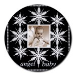 angel baby snowflake mousemat - Round Mousepad