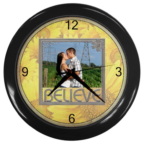 Believe Clock By Lil    Wall Clock (black)   Vtqoj7gw1v54   Www Artscow Com Front