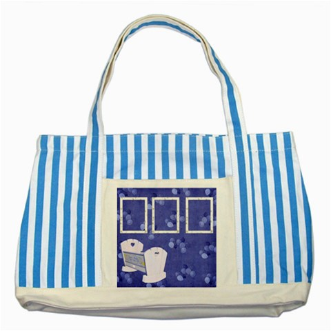Boy Blessing Striped Tote By Lisa Minor   Striped Blue Tote Bag   47aktma56u63   Www Artscow Com Front