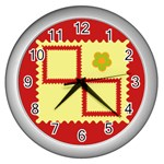 Flower - Wall Clock (Silver)