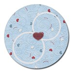 With love - blue - Round Mousepad