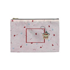With Love   Pink By Daniela   Cosmetic Bag (medium)   Azu14o6ess1v   Www Artscow Com Front