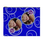 Blue-Purple Swirls Custom Cosmetic Bag-XL - Cosmetic Bag (XL)