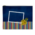 XL- Blue and Stripes - Cosmetic Bag (XL)