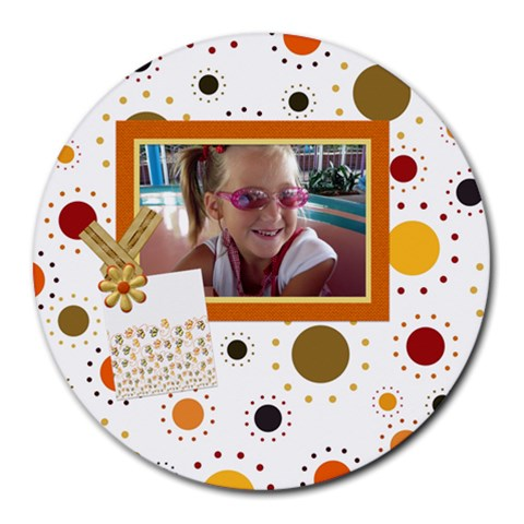 Tangerine Breeze Round Mousepad 1 By Lisa Minor   Round Mousepad   7w0aimd3gmq5   Www Artscow Com Front