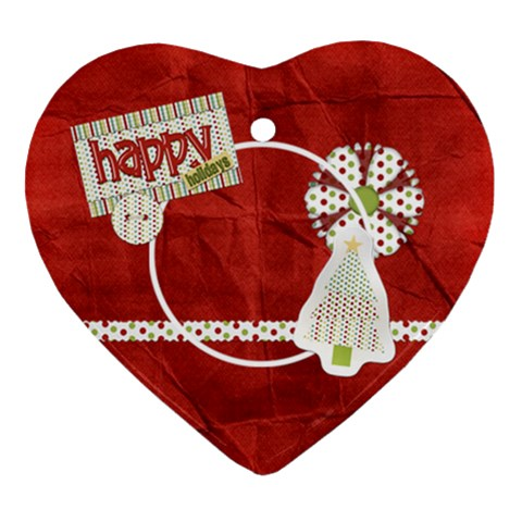 Happy Holidays Heart Ornament 1 By Lisa Minor   Ornament (heart)   2y2n54rtpcul   Www Artscow Com Front