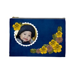 L  Cosmetic Case Yellow And Brown Flowers By Jennyl   Cosmetic Bag (large)   F075iv1r0fl1   Www Artscow Com Front