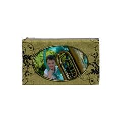 Golden Oval Small Cosmetic Bag By Catvinnat   Cosmetic Bag (small)   0mcb5lbkxjx6   Www Artscow Com Front