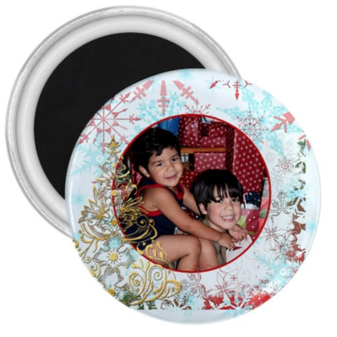 Xmas Swirl 3 Inch Magnet 01 By Ivelyn   3  Magnet   R3ndk2n6mz2x   Www Artscow Com Front