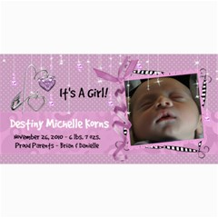 8x4 Birth Announcement Card Girl By Laurrie   4  X 8  Photo Cards   Rzjmvx4umv00   Www Artscow Com 8 x4 Photo Card - 1