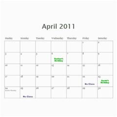 2011 Calendar 2 By Tiffany Frogley   Wall Calendar 11  X 8 5  (12 Months)   Bgp21pnnn7op   Www Artscow Com Apr 2011