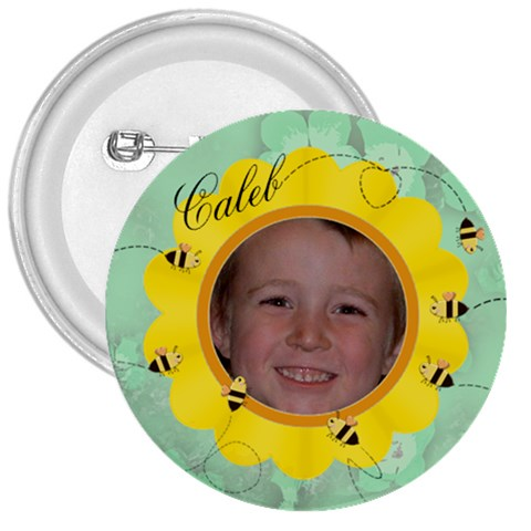 Bees And Flower Yellow And Green By Chere s Creations   3  Button   Kg5uylrfnkkf   Www Artscow Com Front