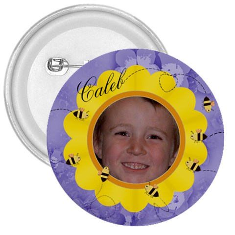 Bees And Flower Yellow And Purple By Chere s Creations   3  Button   1c2w3nz74jlu   Www Artscow Com Front