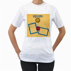 Friends Shirt By Lisa Minor   Women s T Shirt (white) (two Sided)   6e62g97004ev   Www Artscow Com Front