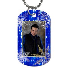 Blue & Gray Lights W/snowflakes 2 Sided Dog Tags By Ivelyn   Dog Tag (two Sides)   Jqq6k3misyfl   Www Artscow Com Front