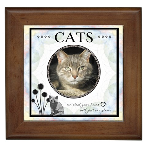 Cats Can Steal Your Heart Framed Tile By Lil    Framed Tile   G1dsorv25kya   Www Artscow Com Front