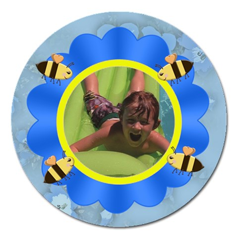 Flower And Bees Blue By Chere s Creations   Magnet 5  (round)   Lsuv5t2ou893   Www Artscow Com Front