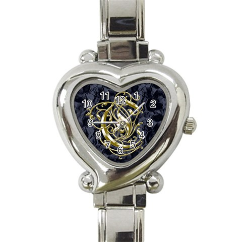 Golden Letter C Heart Watch By Chere s Creations   Heart Italian Charm Watch   F5ymo0gux6lz   Www Artscow Com Front