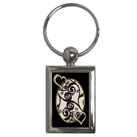 Twin Hearts Black & Gold Keyring Keyring By Catvinnat   Key Chain (rectangle)   9xbx9xznlzo2   Www Artscow Com Front