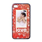 Red Floral Love Valentines i phone case - Apple iPhone 4 Case (Black)