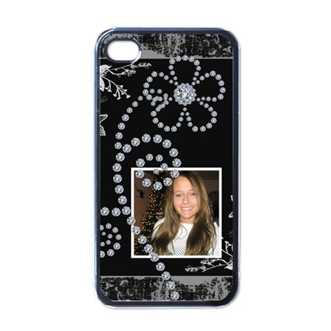 Black & Diamonds Apple Iphone 4 Case By Lil    Apple Iphone 4 Case (black)   Cr7ynqnm9jca   Www Artscow Com Front