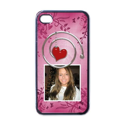 Pink & Red Apple Iphone 4 Case By Lil    Apple Iphone 4 Case (black)   Lkhirimmew3r   Www Artscow Com Front