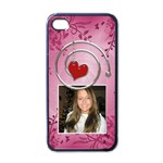 Pink & Red Apple iPhone 4 Case - Apple iPhone 4 Case (Black)