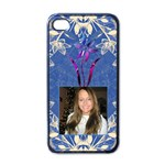Blue Floral Apple iPhone 4 Case - Apple iPhone 4 Case (Black)