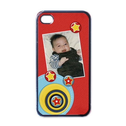 Apple Iphone 4 Case (black)  Circles And Stars By Jennyl   Apple Iphone 4 Case (black)   8h3djx5de0kb   Www Artscow Com Front