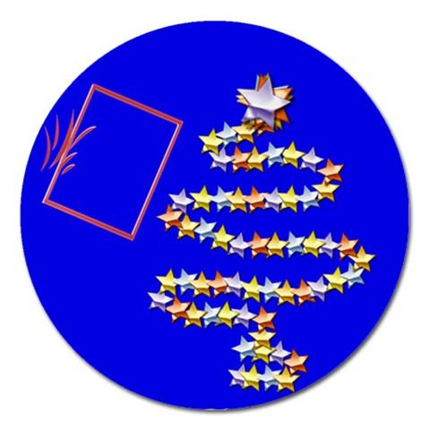 Christmas Tree Blue   5  Magnet By Daniela   Magnet 5  (round)   Gjk0jyiq77uk   Www Artscow Com Front