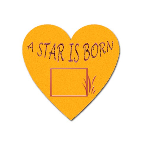 Star Is Born   Heart Magnet By Daniela   Magnet (heart)   Z7t5pscfqizw   Www Artscow Com Front