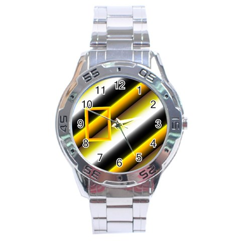 Grey Yellow Stainless Steel Watch By Daniela   Stainless Steel Analogue Watch   Qgrc6y0gujln   Www Artscow Com Front