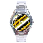 Grey yellow stainless steel watch - Stainless Steel Analogue Men's Watch