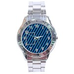 Blue metal stainless steel watch - Stainless Steel Analogue Men's Watch