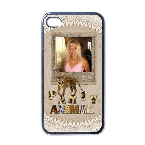 Party Animal Iphone 4 Case By Lil    Apple Iphone 4 Case (black)   4alpki4yg2ar   Www Artscow Com Front