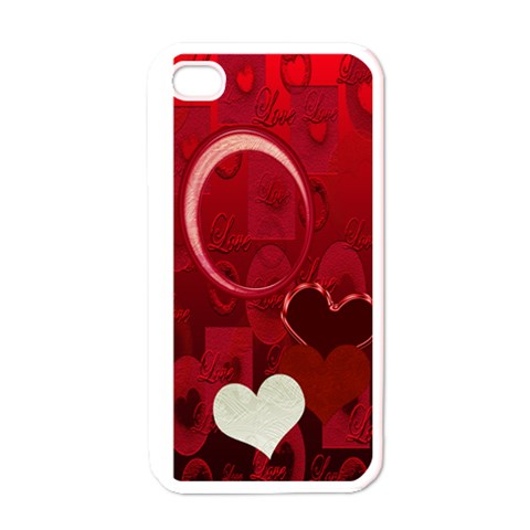 Red Love I Phone Case By Ellan   Apple Iphone 4 Case (white)   94r5ogsbb409   Www Artscow Com Front