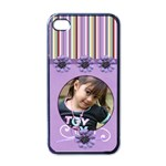 Apple iPhone 4 Case (Black) - Violet  n Stripes