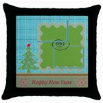 Happy New Year pillow - Throw Pillow Case (Black)