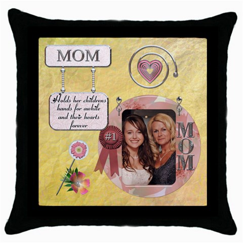 Mom Throw Pillow Case By Lil    Throw Pillow Case (black)   Blg765ptmodc   Www Artscow Com Front