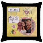 Mom Throw Pillow Case - Throw Pillow Case (Black)
