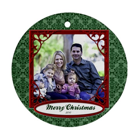 Green Damask Ornament Christmas By Heatherr   Ornament (round)   0au4nk693djv   Www Artscow Com Front
